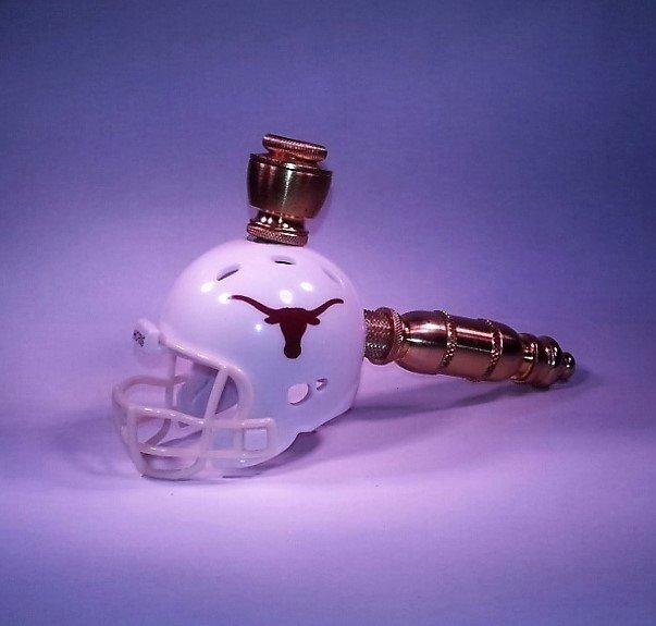 Texas Longhorns Helmet Pipe  Straight Design Brass Finish