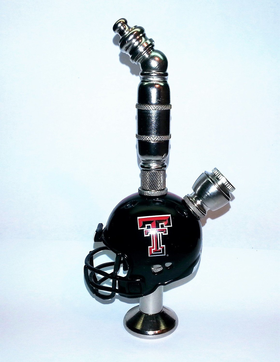Texas Tech Red Raiders Helmet Pipe  Stand Alone Design  Nickel Finish