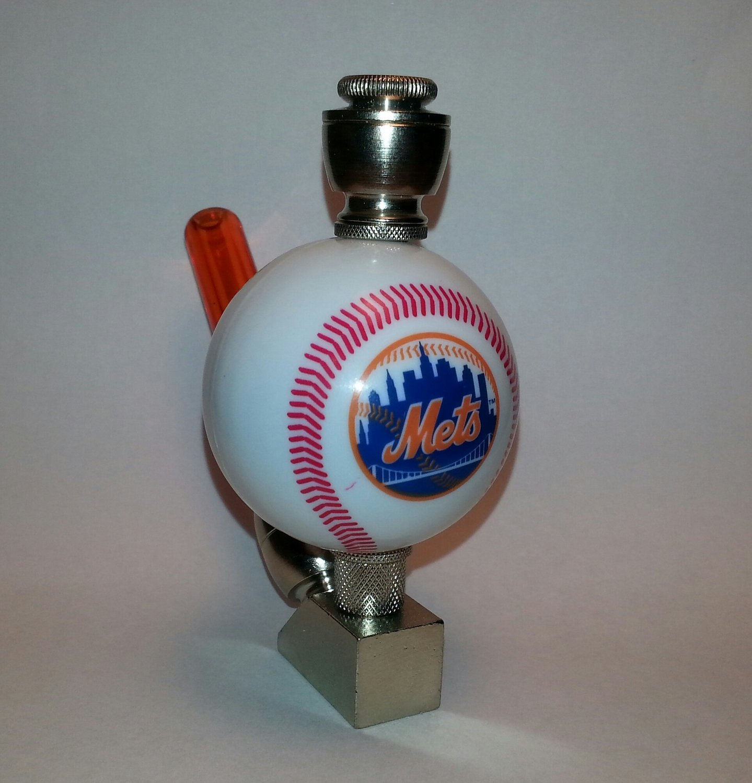 NY Mets MLB Baseball Pipe Wedge Design Nickel Fittings