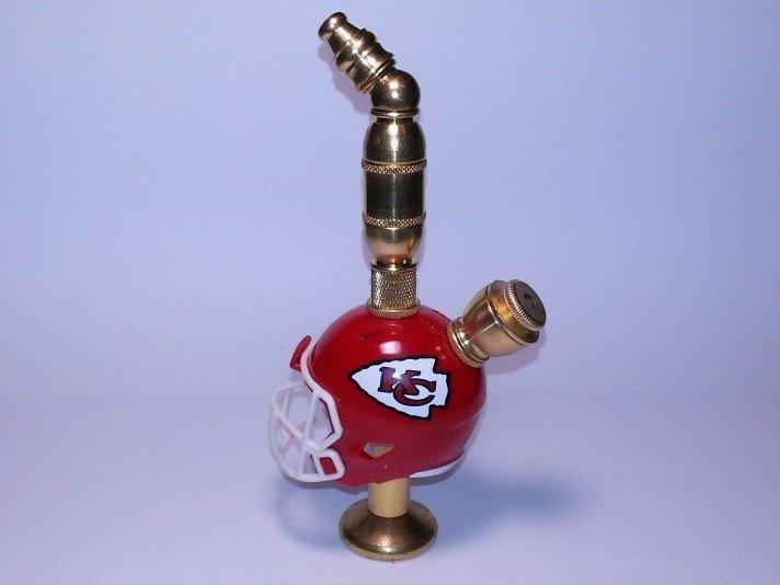 Kansas City Chiefs NFL Helmet Pipe Stand Alone Design  Brass Finish