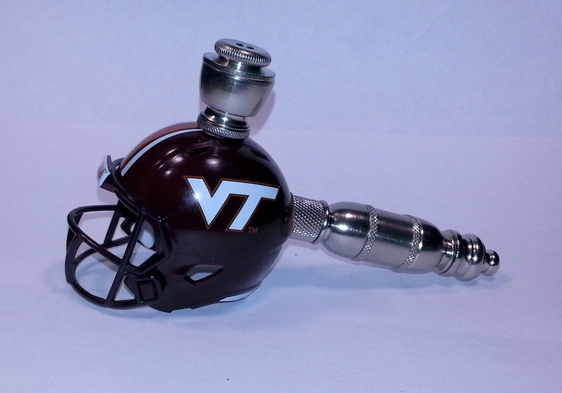 Virginia Tech Hokies   Helmet Pipe  Straight Design Nickel Finish