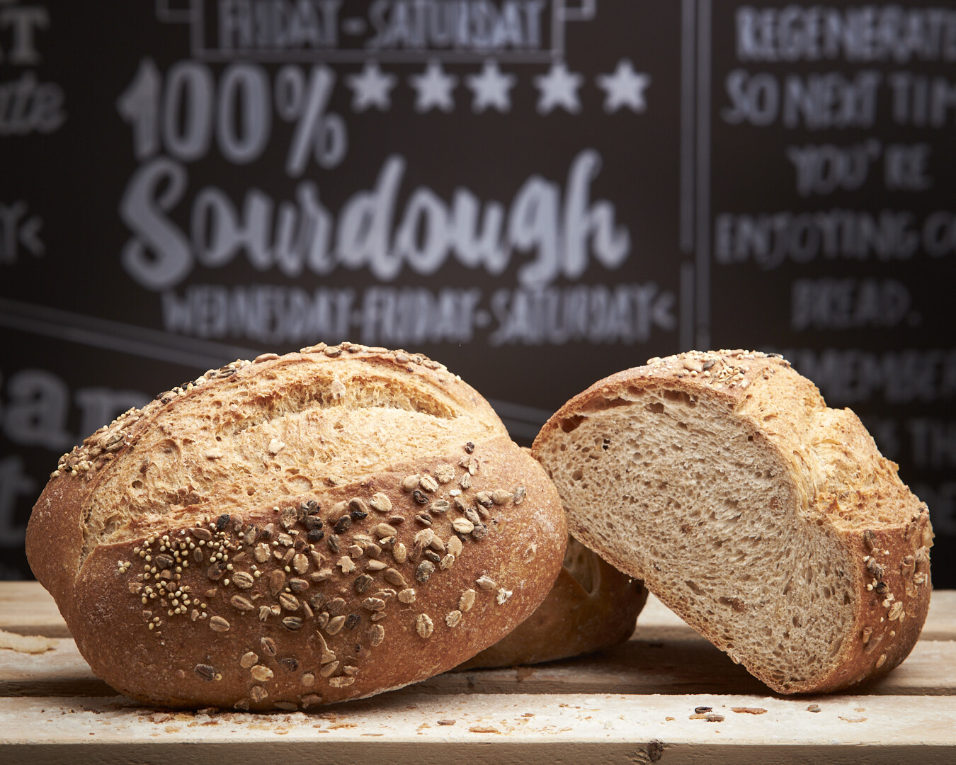 BROWN FIVE SEED Loaf -mix of organic brown flour-