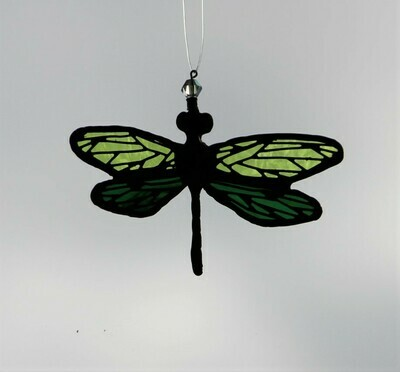 Green Dragonfly with filigree on wings