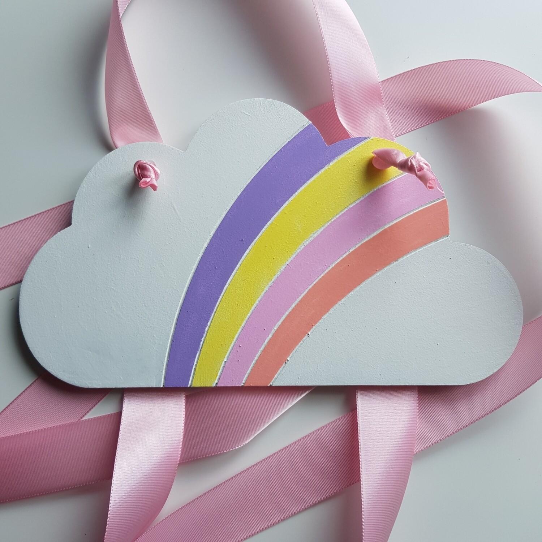 Cloud w/rainbow Bow Holder