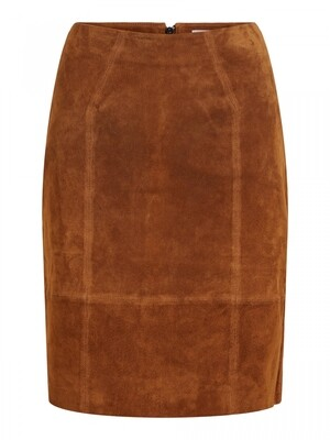 VIFAITH HW SUEDE SLIT SKIRT Oak Brown