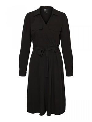 VMLOLENA LS BLK SHIRT DRESS WVN GA Black