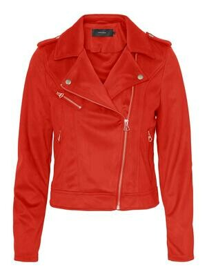 VMYESLEA SHORT FAUX SUEDE JACKET aurora red