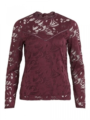 VISTASIA LACE L/S TOP - NOOS Wine Red