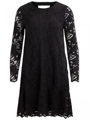 VISTASIA L/S LACE A-SHAPE DRESS-NOOS Black
