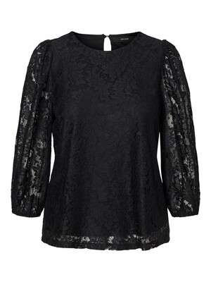 VMBONNA 3/4 LACE TOP WVN BF Black