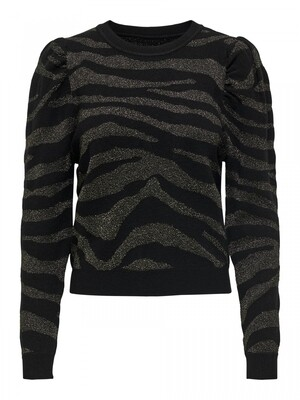 ONLCERIE L/S PULLOVER CC KNT Black/zebra