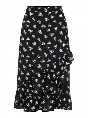 PCSILJY HW MIDI WRAP SKIRT KAC Black-simple flower
