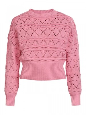 VINOVALA CREW NECK L/S KNIT TOP Wild Rose