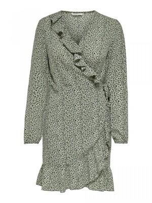 ONLCARLY L/S WRAP SHORT DRESS NOOS WVN Seagrass/Multi Dot