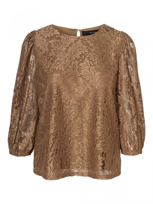 VMBONNA 3/4 LACE TOP WVN BF Sepia Tint