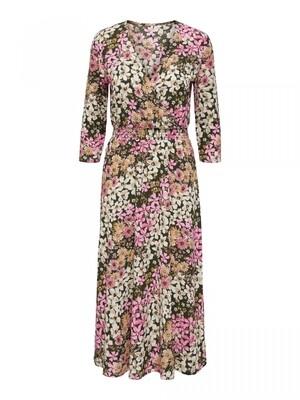 ONLSAGA 3/4 WRAP DRESS JRS Beluga/DREAM FLOWER