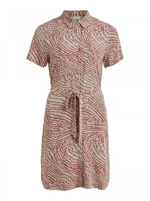 VIMORAS S/S SHIRT DRESS/SU Birch/W.  PRIN