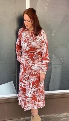 ONLAUGUSTINA 3/4 SHIRT DRESS WVN Burnt Henna/GARDEN D
