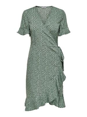 ONLOLIVIA S/S WRAP DRESS WVN NOOS Chinois Green/BLACK