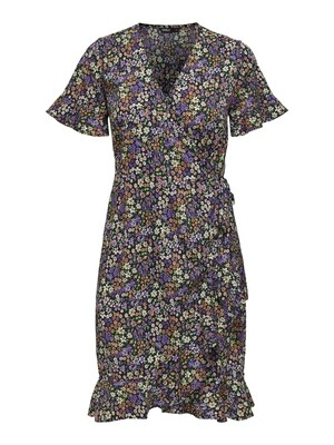 ONLOLIVIA S/S WRAP DRESS WVN NOOS Black-Shore Flower