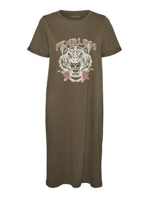 NMHAZEL S/S T-SHIRT DRESS BG KO Kalamata-tiger