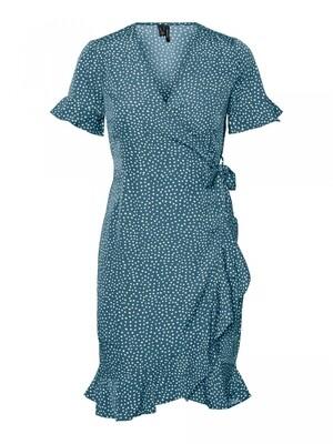 VMHENNA 2/4 WRAP FRILL DRESS NOOS Bluestone-TINY DOTS