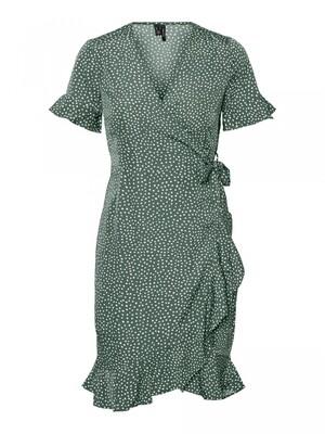 VMHENNA 2/4 WRAP FRILL DRESS NOOS Laurel Wreath-TINY DOTS