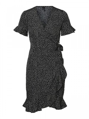 VMHENNA 2/4 WRAP FRILL DRESS NOOS Black-TINY DOTS