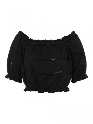 PCTAYLEE SS CROPPED TOP BC Black