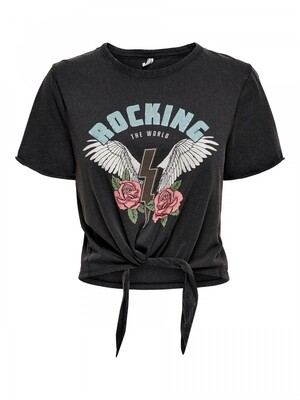 ONLLUCY LIFE S/S WINGS KNOT TOP CS JRS Black-Rocking