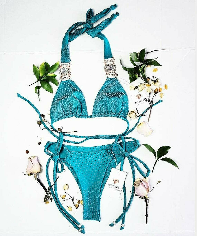 Mermaid Green Bikini Top and Bottom - Сrystals-Pool Party- Two Piece Swimsuit-Festival Bikini