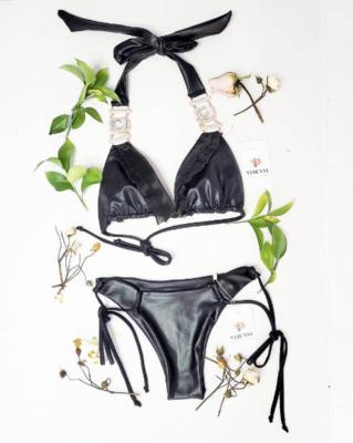 Black Leather look Bikini Top and Bottom - Сrystals-Pool Party- Two Piece Swimsuit-Festival Bikini