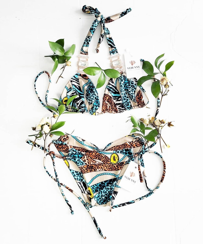 Animal Print Bikini Top and Bottom - Сrystals-Pool Party- Two Piece Swimsuit-Festival Bikini