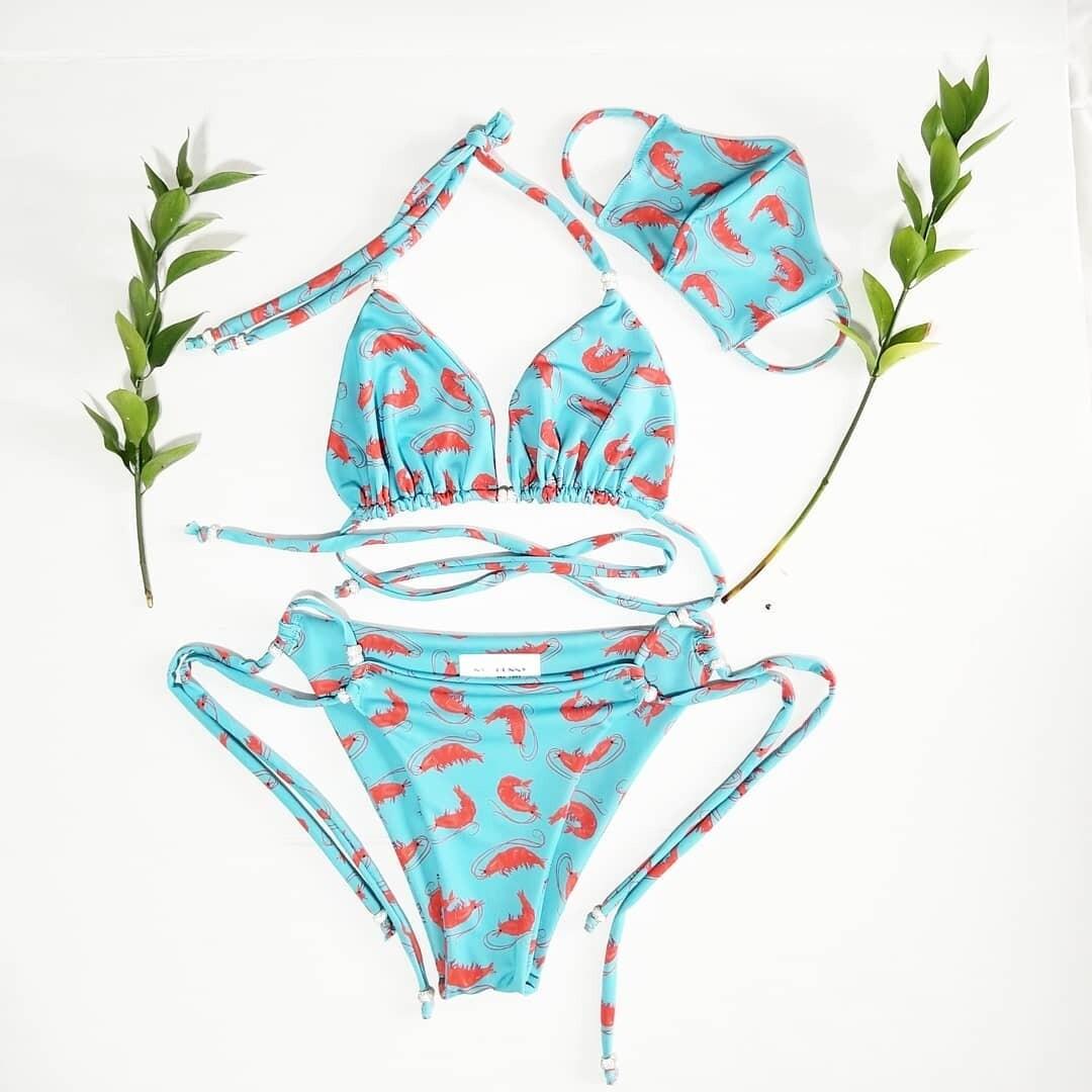 Blue Shimp Bikini Top and Bottom - Сrystals-Pool Party- Two Piece Swimsuit-Festival Bikini