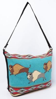 Cotton Stencil Bison Purse - Turquoise
