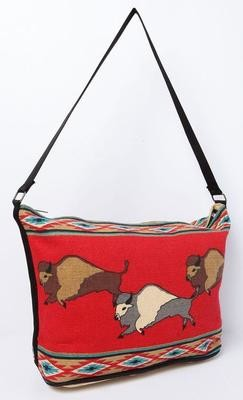 Cotton Stencil Bison Purse - Red
