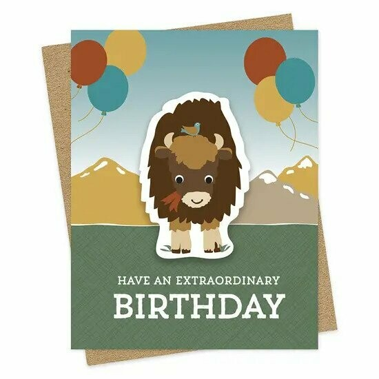 Bison Sticker Birthday Card
