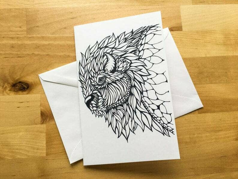 Bison Coloring Greeting Card