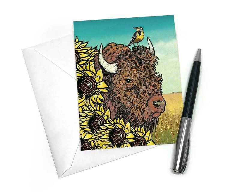 Sunflower & Buffalo Greeting Card