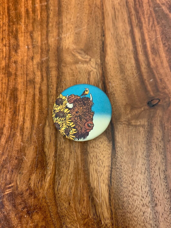 Bison & Sunflower Button