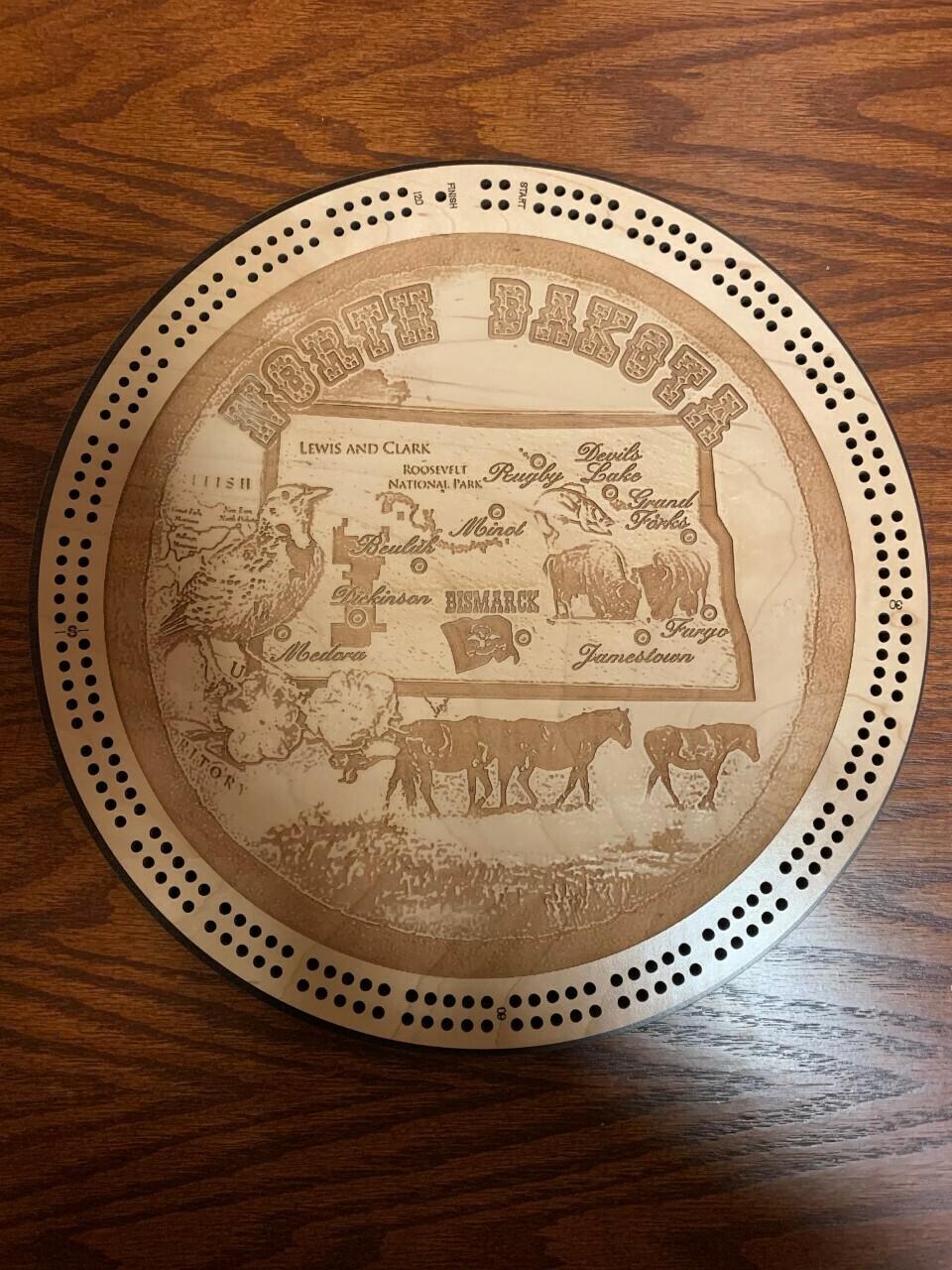North Dakota Round Scenic Cribbage Board