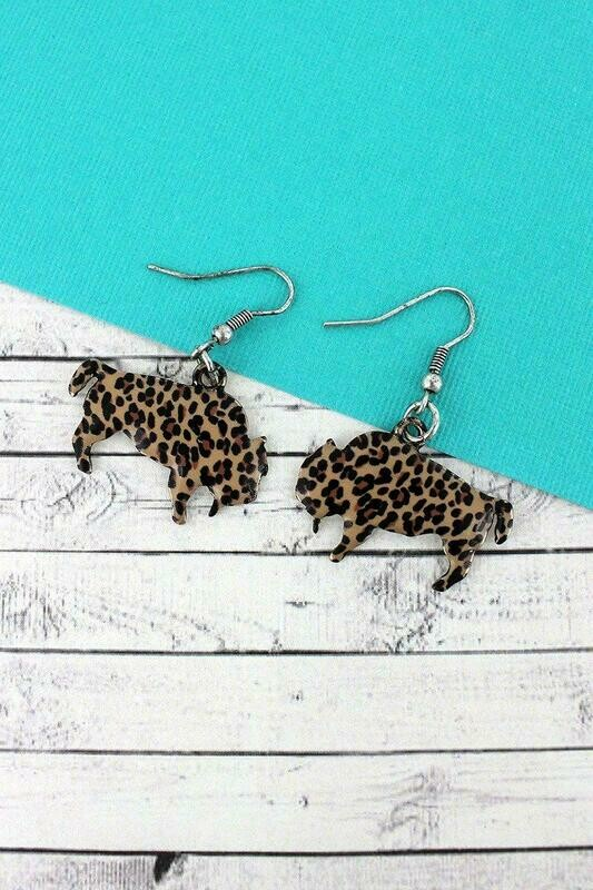 Leopard Bison Earrings