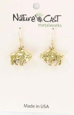 Gold Tone Bison Earrings