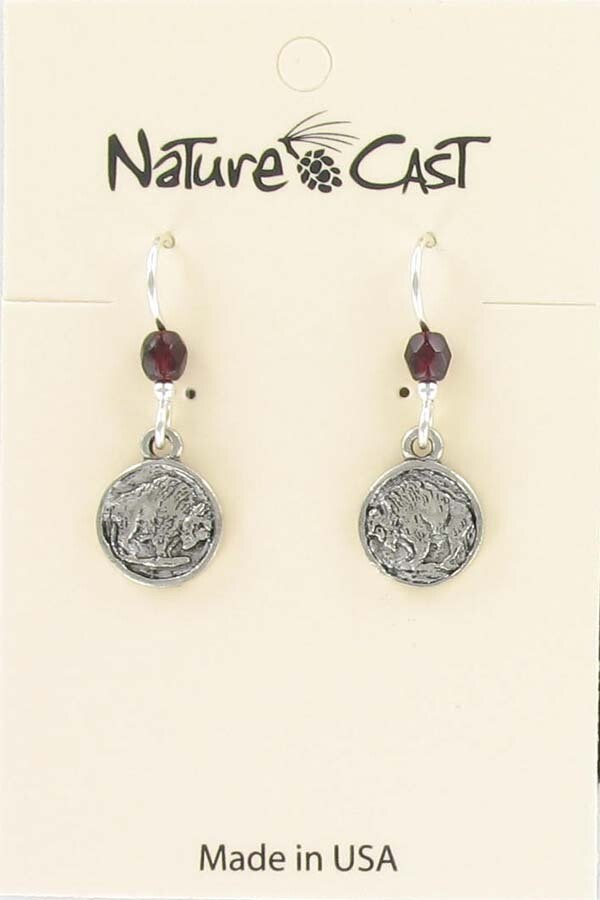 Silver Buffalo Coin Earrings