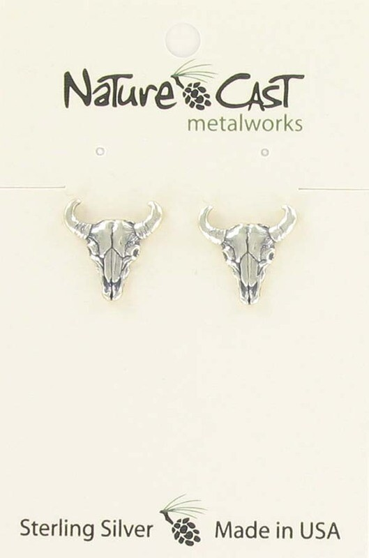Sterling Silver Skull Post Earrings