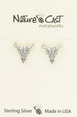 Sterling Silver Skull Post Earrings