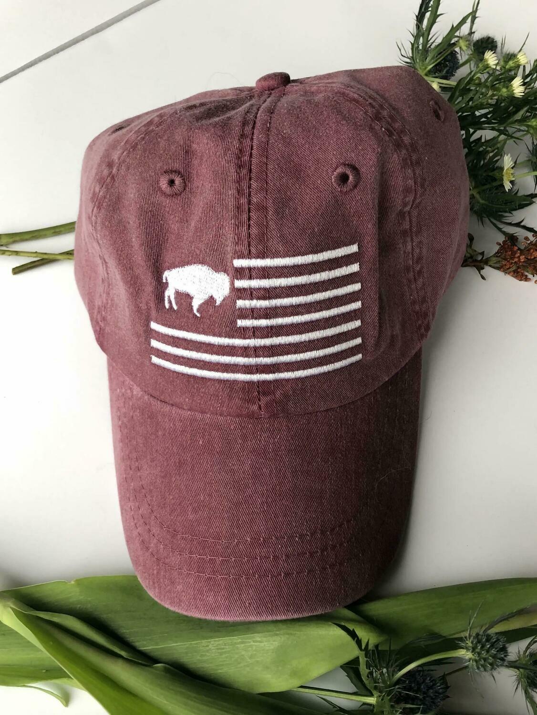 Buffalo Flag Hat (Maroon)