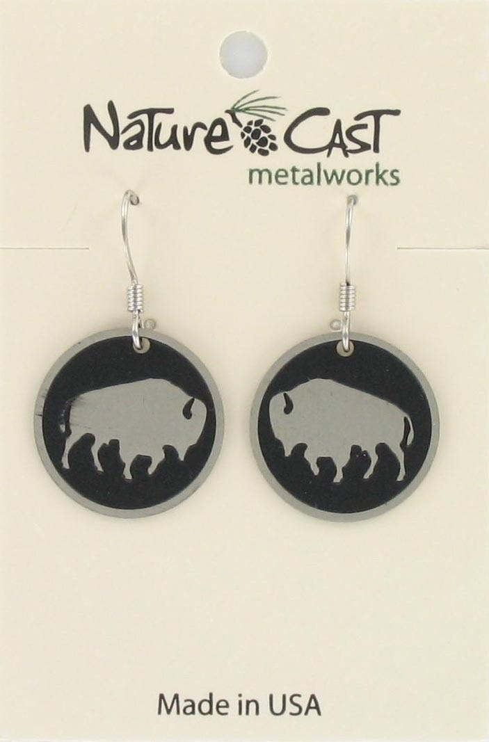 Buffalo Disc Dangle Earrings