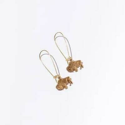 Brass Bison Dangle Earrings