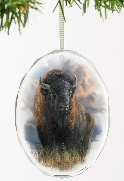 Distant Thunder-Bison Oval Glass Ornament by Rosemary Millette